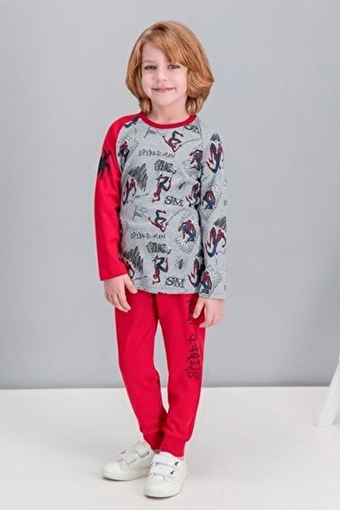 Spider-Man Spider Man Lisanslı Grimelanj Erkek Çocuk Pijama Takımı Gri